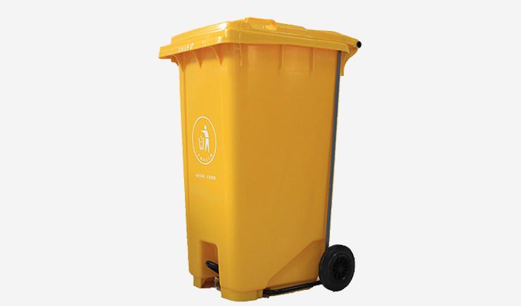 240L-加厚脚踏垃圾桶-黄色